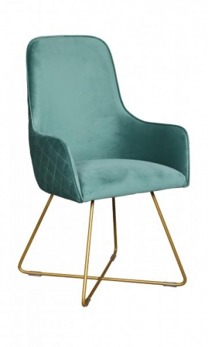 Utah Upholstered Bespoke Chair with Metal Legs - Luxor Sea Foam