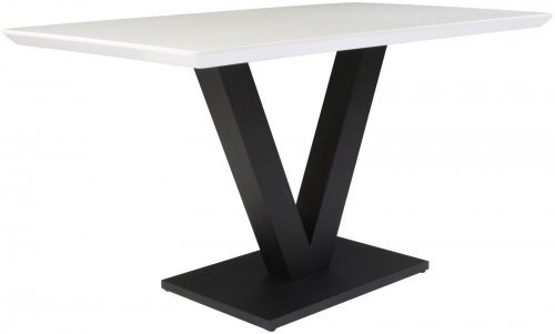 Telford Industrial Fixed Top Dining Table- White Gloss