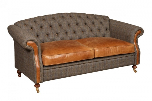 Weston 2 Seat Leather and Tweed Sofa