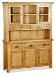 Country Rustic Waxed Oak Large 3 Door / 3 Drawer Sideboard & Glazed Top