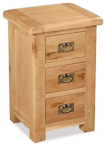 Country Rustic Waxed Oak 3 Drawer Bedside