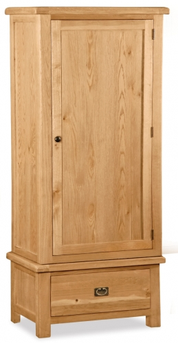 Country Rustic Waxed Oak Single Wardrobe