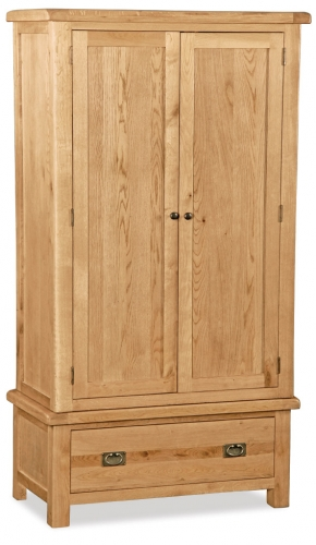 Country Rustic Waxed Oak Double Wardrobe