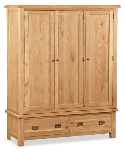 Country Rustic Waxed Oak Triple Wardrobe
