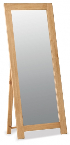 Country Rustic Waxed Oak Cheval Mirror