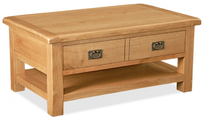 Country Rustic Waxed Oak Large Coffee Table With Drawer & Shelf