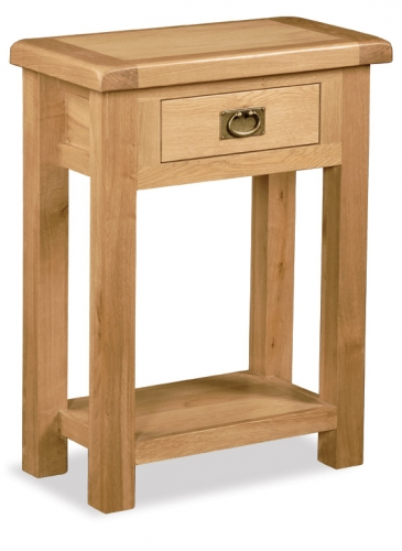 Country Rustic Waxed Oak 1 Drawer Console Table
