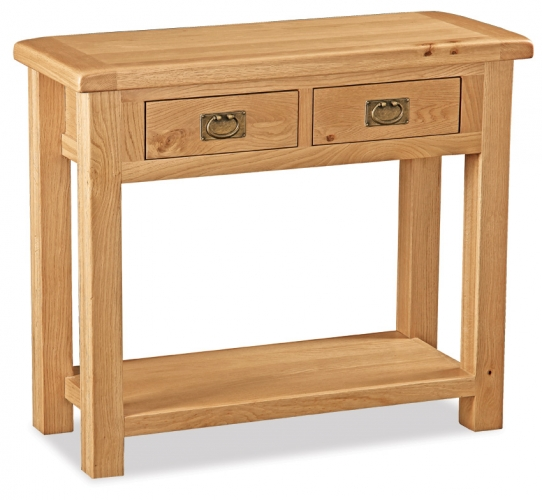 Country Rustic Waxed Oak 2 Drawer Console Table