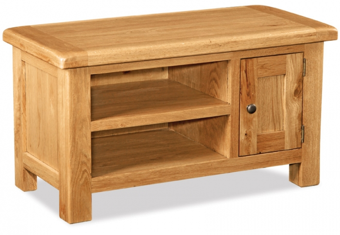 Country Rustic Waxed Oak Small Tv Unit