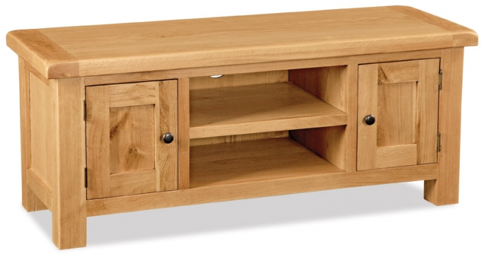 Country Rustic Waxed Oak Medium Tv Unit