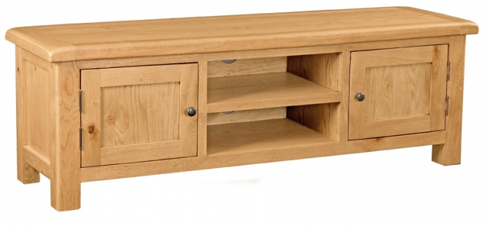 Country Rustic Waxed Oak Large Tv Unit