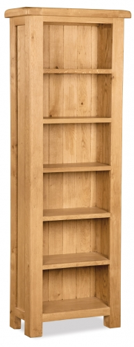 Country Rustic Waxed Oak Tall Slim Bookcase
