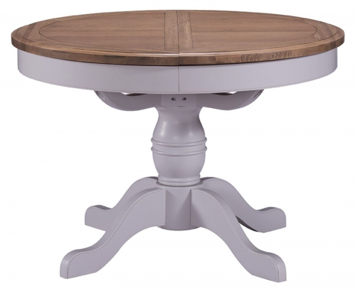 Hastings Grey Painted Round Extending Pedestal Table