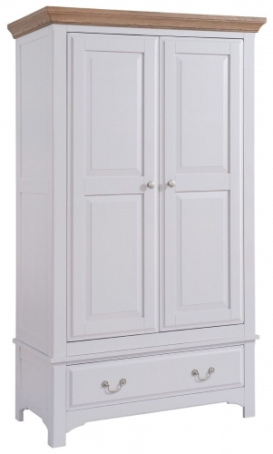 Hastings Grey Painted 2 Door 1 Drawer Gents Wardrobe