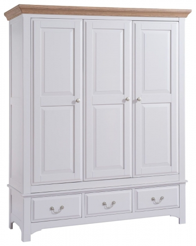 Hastings Grey Painted 3 Door 3 drawer Wardrobe