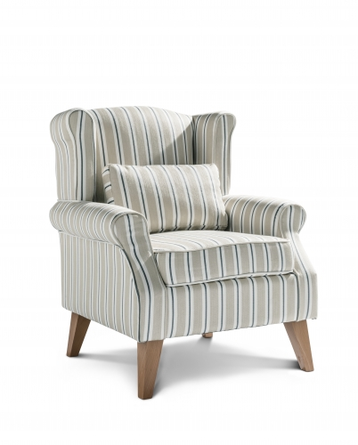 Boston Accent Chair - Arley Stripe Orche with Light Legs