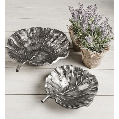 Zinc Leaf Bowl Aluminium Set of 2